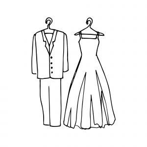 Imagen decorativa dibujo traje y vestido novios
